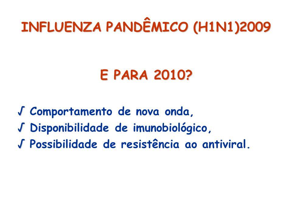 INFLUENZA PANDÊMICO (H1N1)2009 E PARA 2010? Comportamento de nova onda, Disponibilidade de imunobiológico, Possibilidade de resistência ao antiviral.