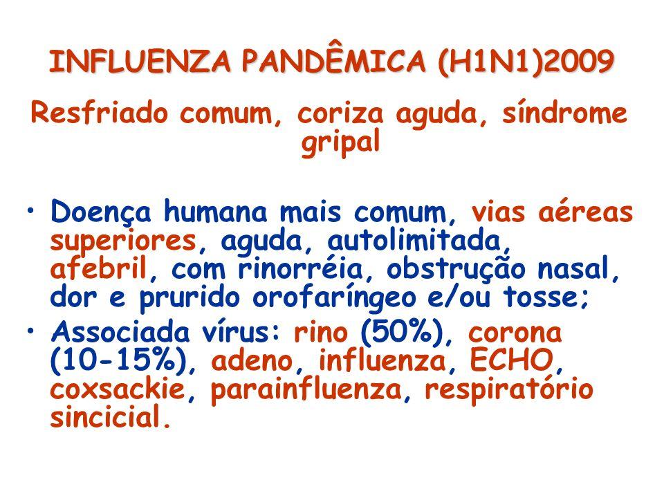 INFLUENZA PANDÊMICA (H1N1)2009 Rinite Irritação/inflamação mucosa nasal com aumento secreções, prurido, obstrução, gotejamento posterior; Alérgica; Infecciosa (aguda: vírus, bactéria; crônica: bactéria, fungo, imunodeficiência); Não-alérgica; Outras (Hormonal: gravidez, hipotireoidismo; Fármaco-induzida: AAS, anti-hipertensivos; Alimentar: gustativa, IgE mediada, induzida por conservantes; Atrófica; Mecânica (hipertrofia ossos turbinados, desvio septo, corpo estranho, pólipos).