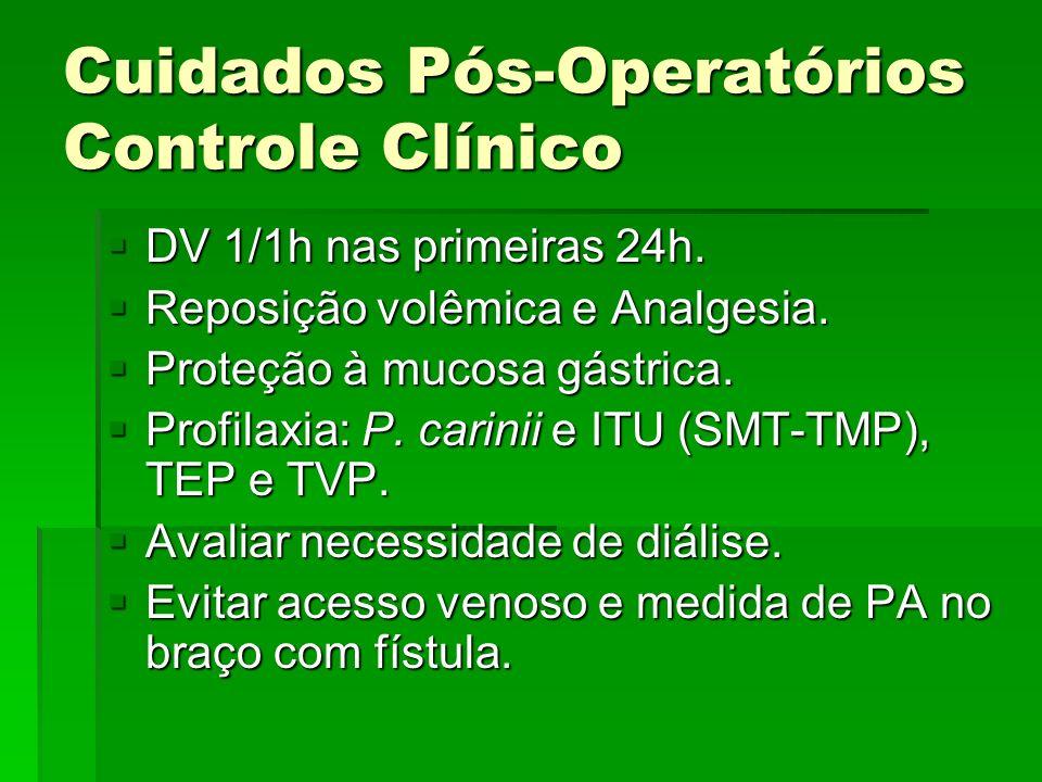 Cuidados Pós-Operatórios Controle Clínico DV 1/1h nas primeiras 24h. DV 1/1h nas primeiras 24h. Reposição volêmica e Analgesia. Reposição volêmica e A