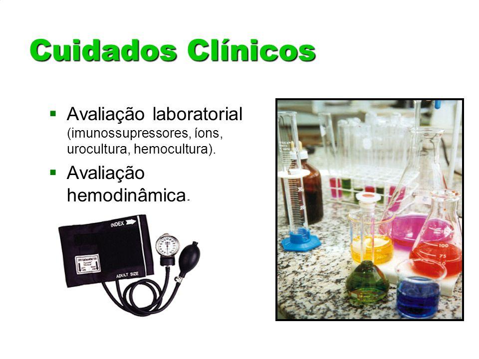 Cuidados Clínicos Avaliação laboratorial (imunossupressores, íons, urocultura, hemocultura). Avaliação laboratorial (imunossupressores, íons, urocultu