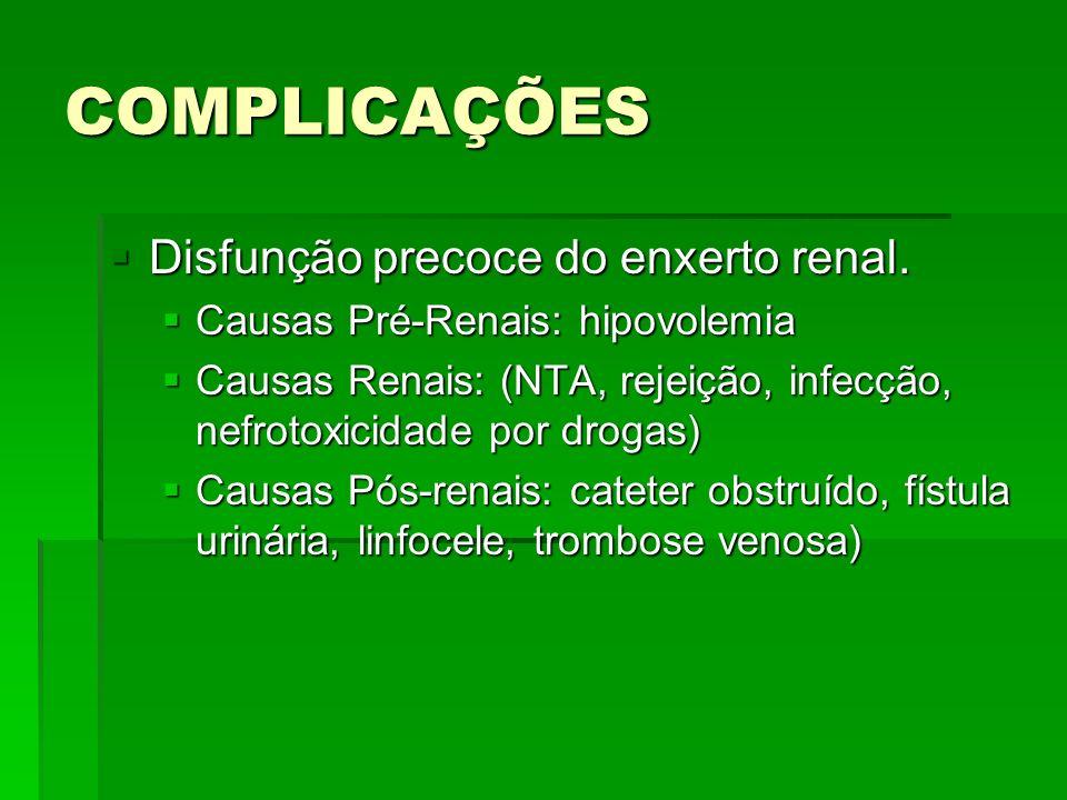 COMPLICAÇÕES Disfunção precoce do enxerto renal. Disfunção precoce do enxerto renal. Causas Pré-Renais: hipovolemia Causas Pré-Renais: hipovolemia Cau