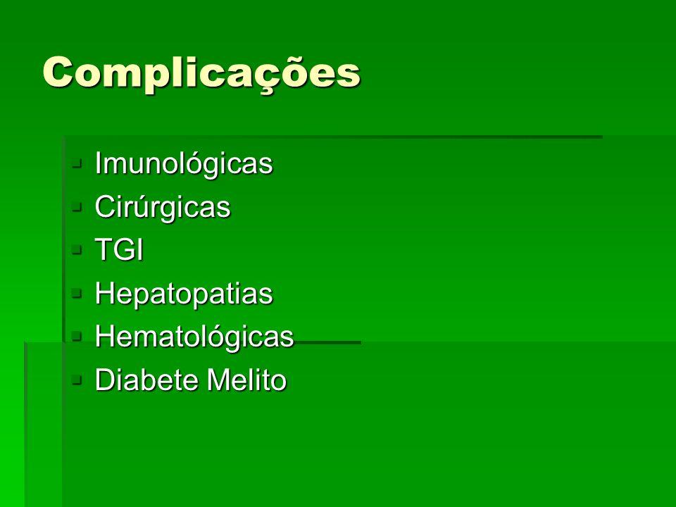 Complicações Imunológicas Imunológicas Cirúrgicas Cirúrgicas TGI TGI Hepatopatias Hepatopatias Hematológicas Hematológicas Diabete Melito Diabete Meli