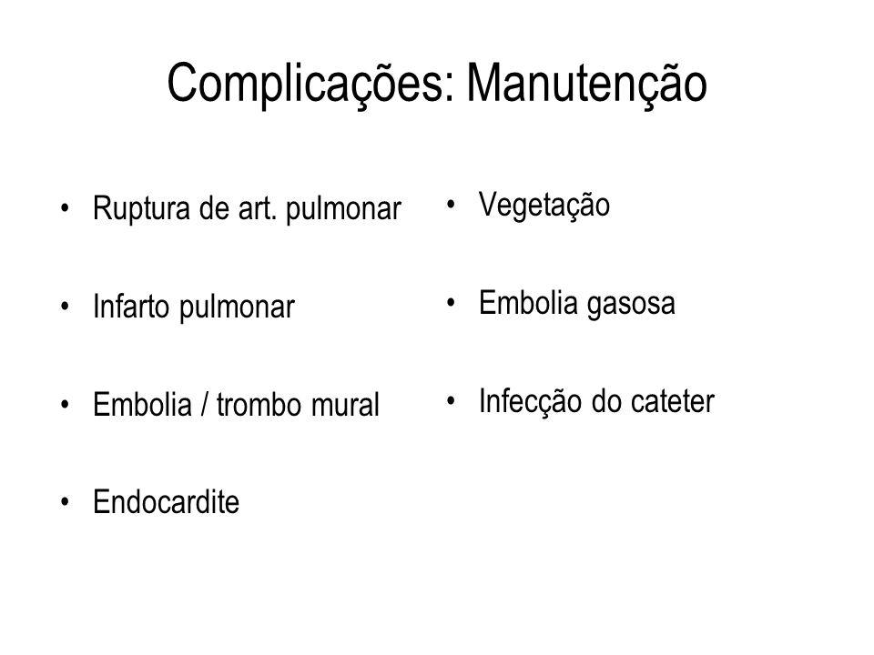 Complicações: Manutenção Ruptura de art. pulmonar Infarto pulmonar Embolia / trombo mural Endocardite Vegetação Embolia gasosa Infecção do cateter