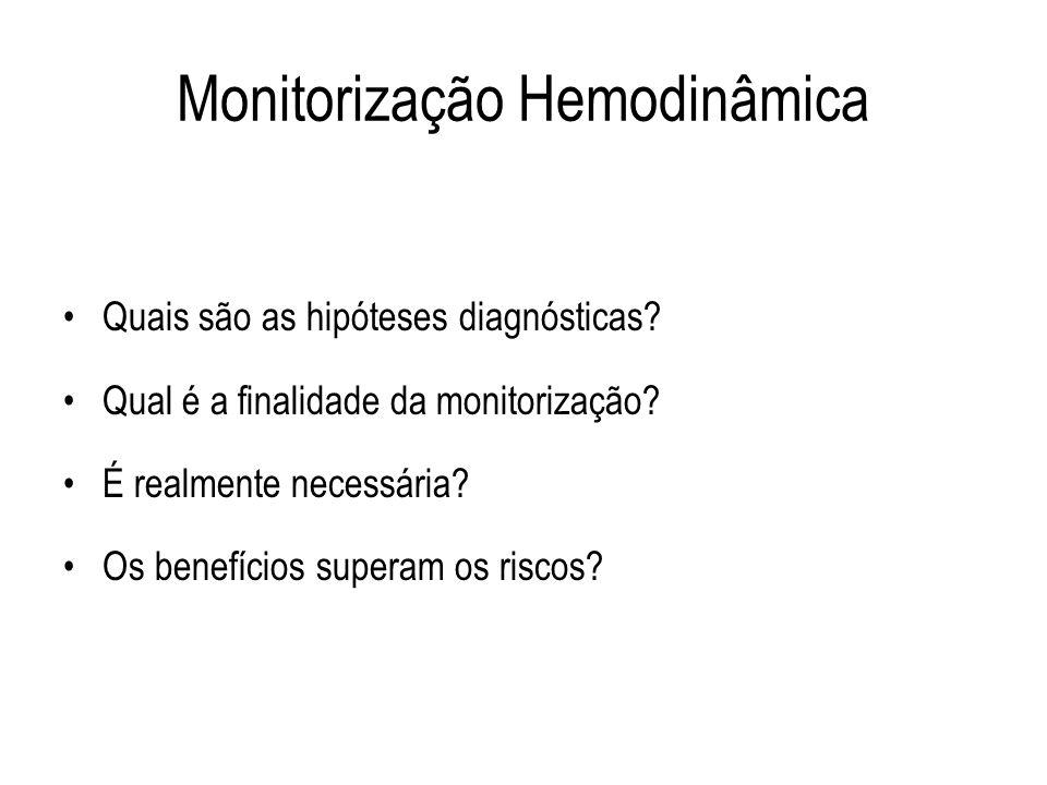 Monitorização Hemodinâmica Quais são as hipóteses diagnósticas? Qual é a finalidade da monitorização? É realmente necessária? Os benefícios superam os
