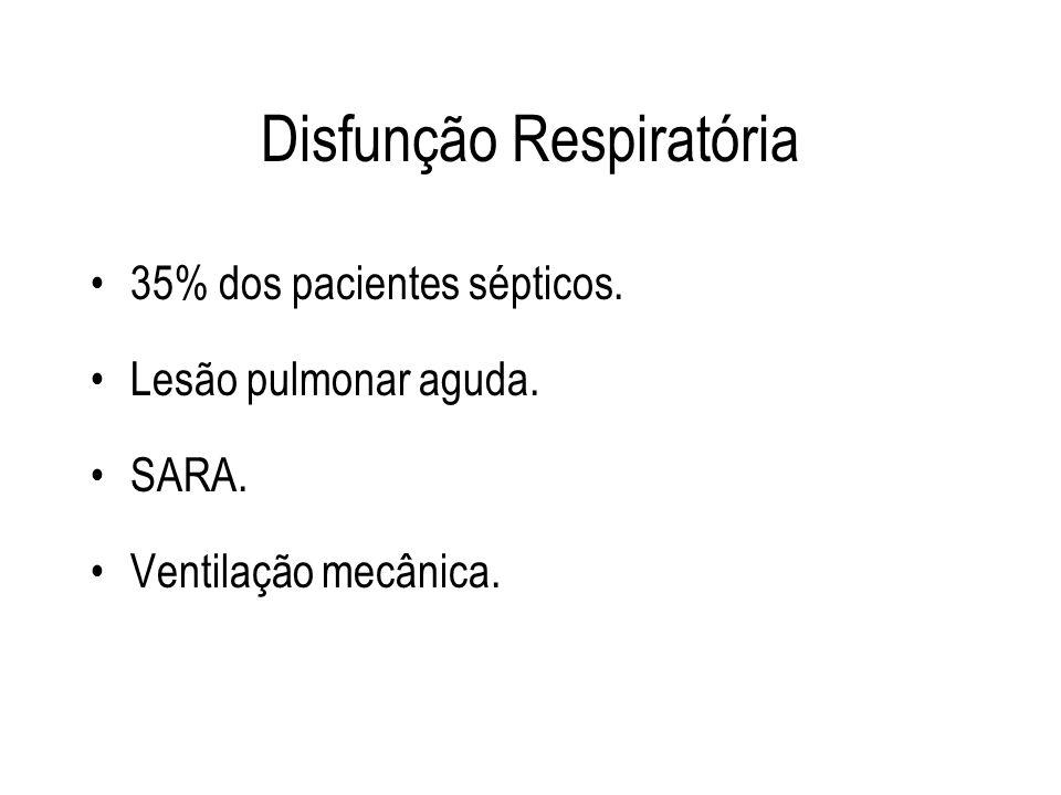 Disfunção Respiratória 35% dos pacientes sépticos. Lesão pulmonar aguda. SARA. Ventilação mecânica.