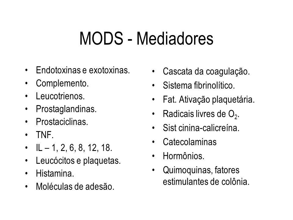 MODS - Mediadores Endotoxinas e exotoxinas. Complemento. Leucotrienos. Prostaglandinas. Prostaciclinas. TNF. IL – 1, 2, 6, 8, 12, 18. Leucócitos e pla