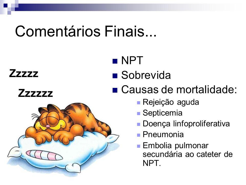 Comentários Finais... NPT Sobrevida Causas de mortalidade: Rejeição aguda Septicemia Doença linfoproliferativa Pneumonia Embolia pulmonar secundária a