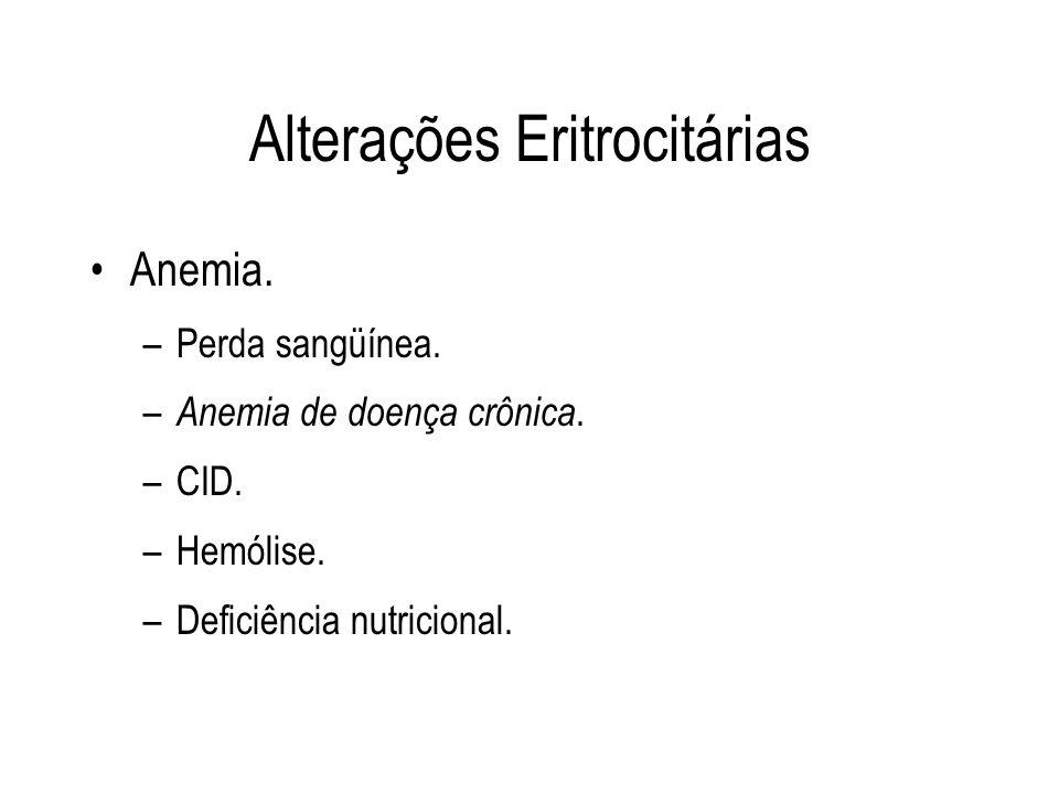 Alterações Eritrocitárias Anemia. –Perda sangüínea. – Anemia de doença crônica. –CID. –Hemólise. –Deficiência nutricional.