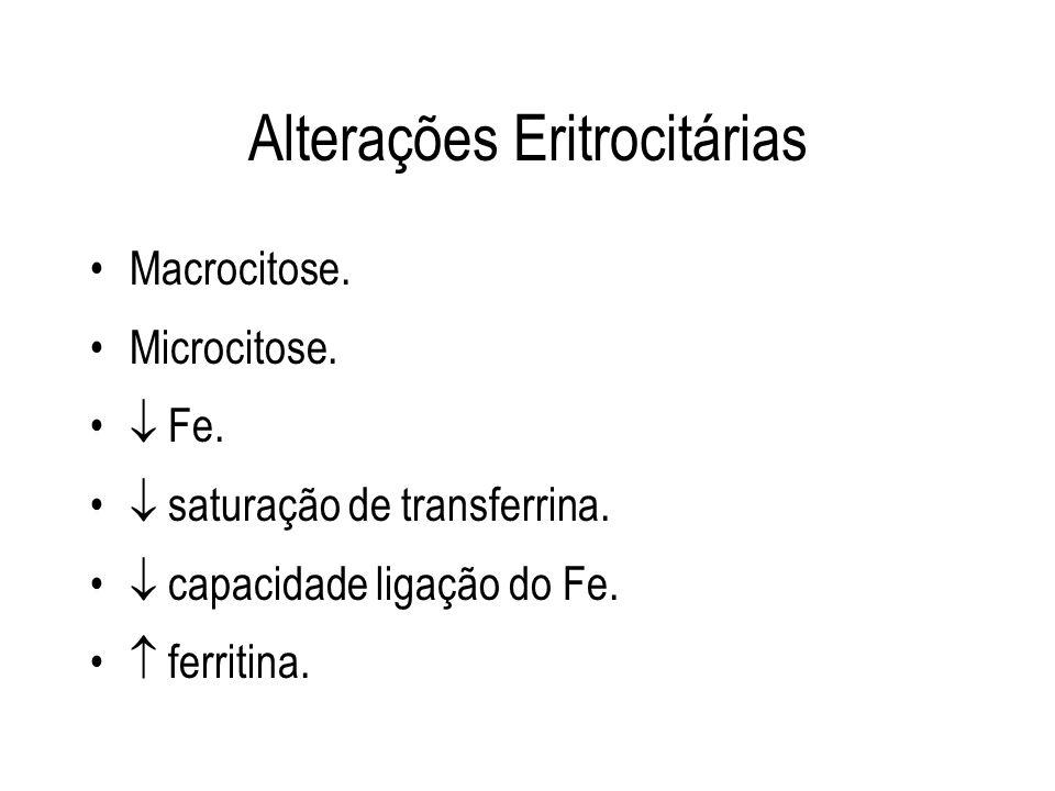 Alterações Eritrocitárias Macrocitose. Microcitose. Fe. saturação de transferrina. capacidade ligação do Fe. ferritina.