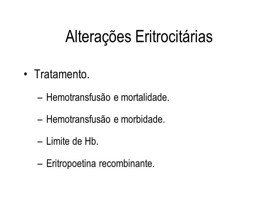 Alterações Eritrocitárias Tratamento. –Hemotransfusão e mortalidade. –Hemotransfusão e morbidade. –Limite de Hb. –Eritropoetina recombinante.