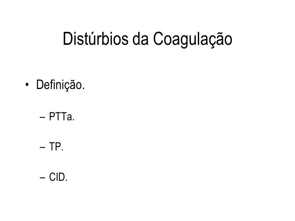 Distúrbios da Coagulação Definição. –PTTa. –TP. –CID.