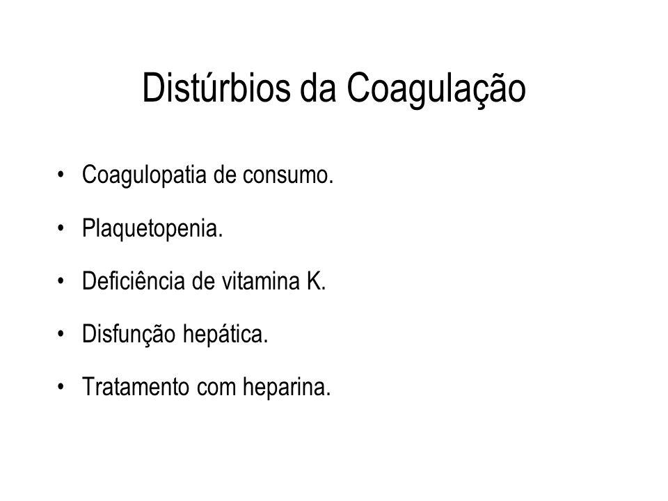 Distúrbios da Coagulação Coagulopatia de consumo. Plaquetopenia. Deficiência de vitamina K. Disfunção hepática. Tratamento com heparina.
