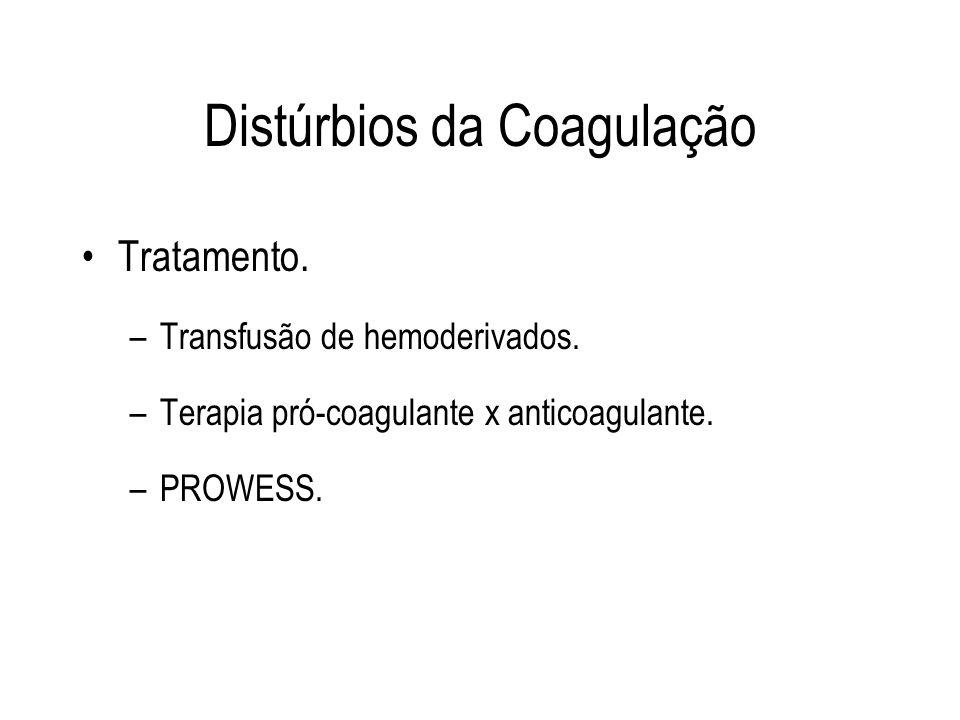 Tratamento. –Transfusão de hemoderivados. –Terapia pró-coagulante x anticoagulante. –PROWESS.