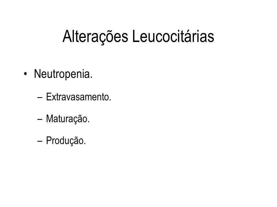 Alterações Leucocitárias Neutropenia. –Extravasamento. –Maturação. –Produção.