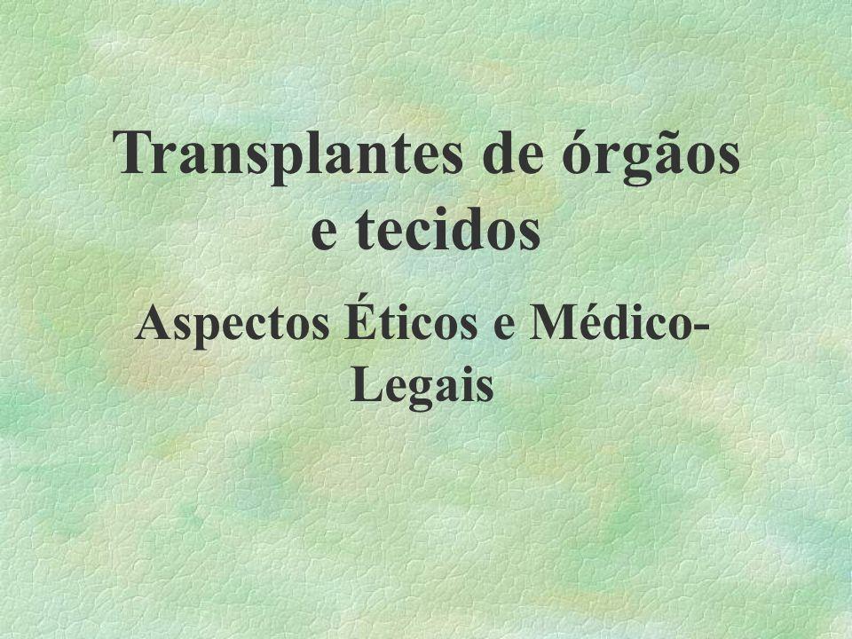 Transplantes de órgãos e tecidos Aspectos Éticos e Médico- Legais