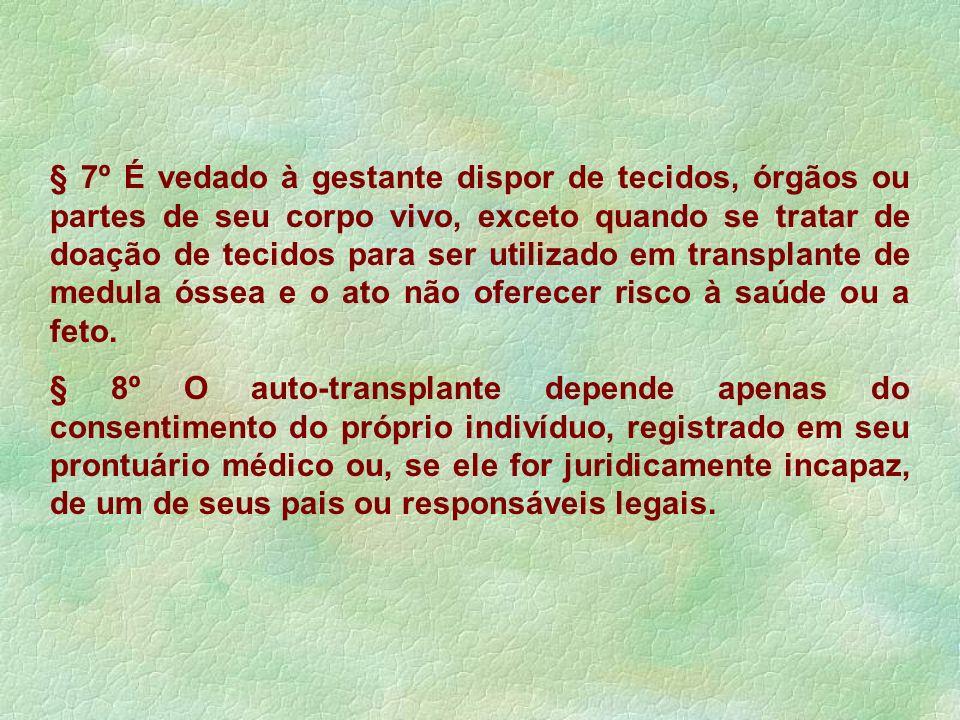 § 7º É vedado à gestante dispor de tecidos, órgãos ou partes de seu corpo vivo, exceto quando se tratar de doação de tecidos para ser utilizado em tra