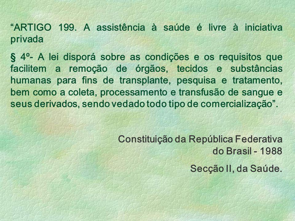 ARTIGO 199. A assistência à saúde é livre à iniciativa privada § 4º- A lei disporá sobre as condições e os requisitos que facilitem a remoção de órgão