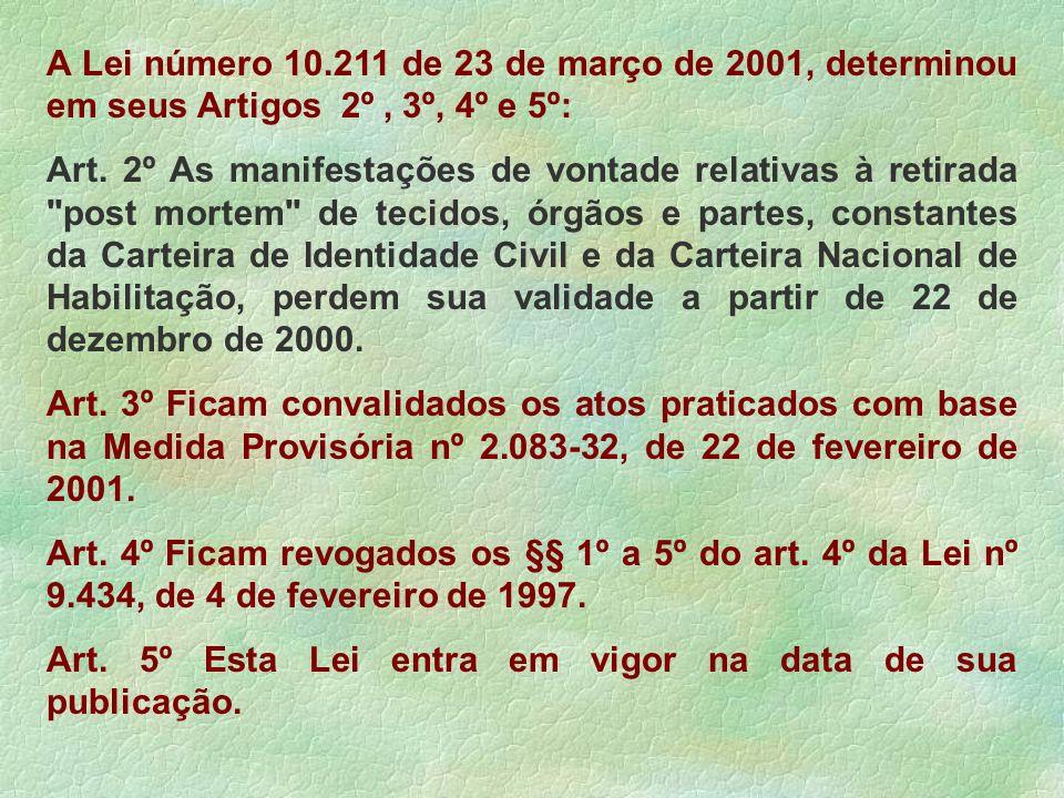 A Lei número 10.211 de 23 de março de 2001, determinou em seus Artigos 2º, 3º, 4º e 5º: Art. 2º As manifestações de vontade relativas à retirada