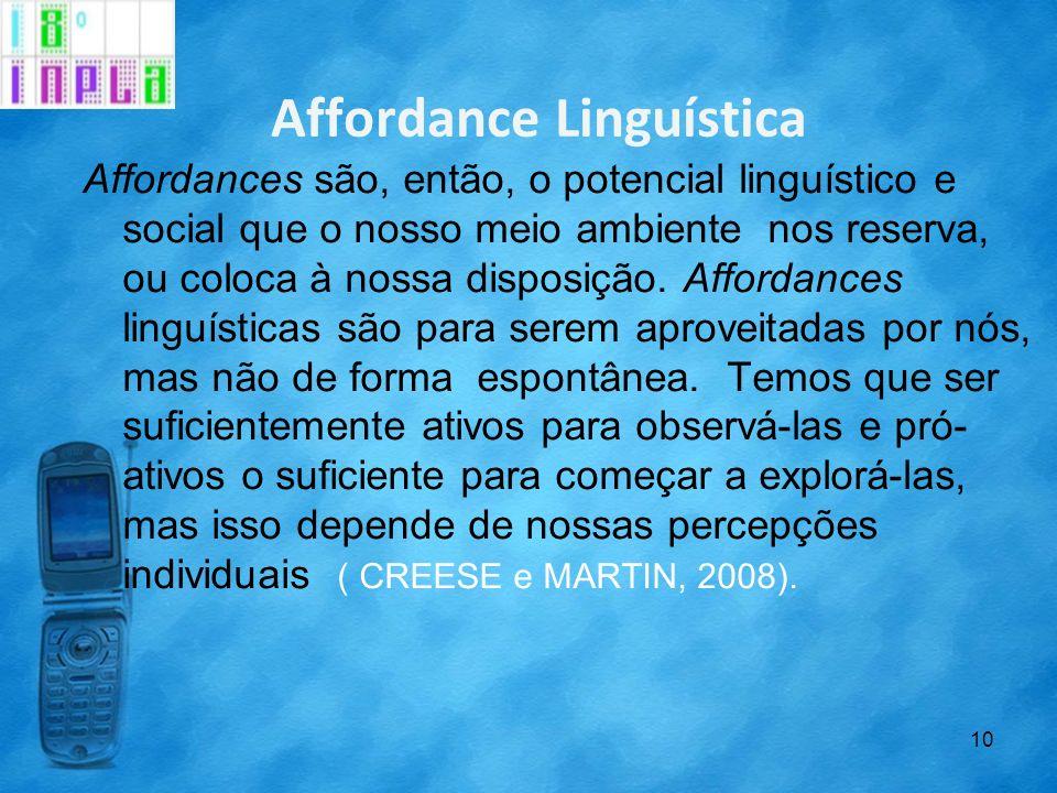 Affordance Linguística Affordances são, então, o potencial linguístico e social que o nosso meio ambiente nos reserva, ou coloca à nossa disposição. A