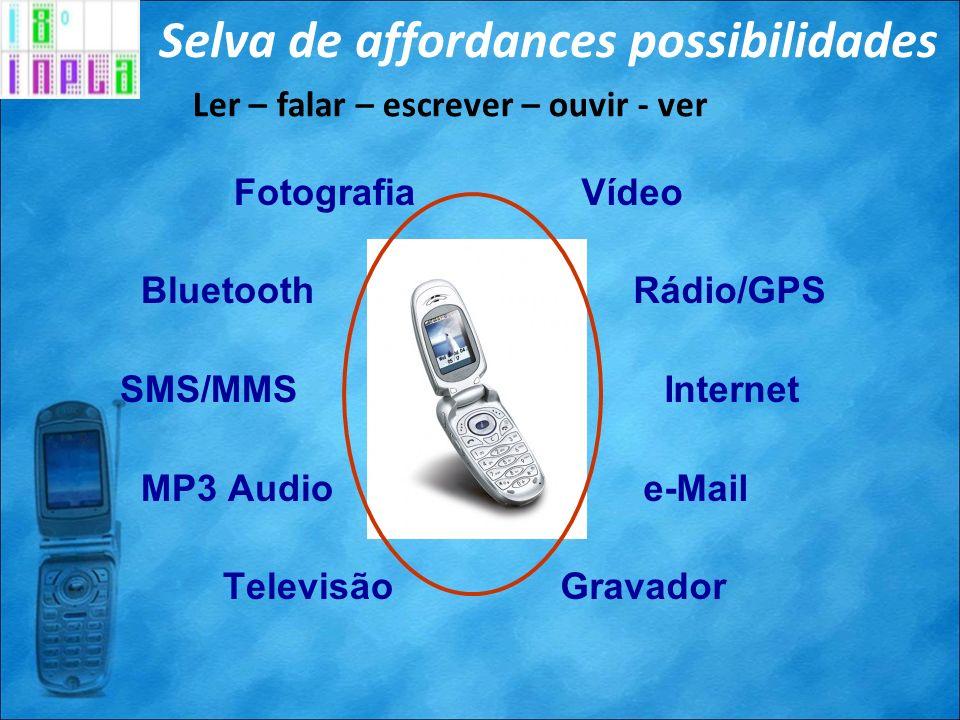Selva de affordances possibilidades Vídeo Rádio/GPS Internet e-Mail Gravador Fotografia Bluetooth SMS/MMS MP3 Audio Televisão Ler – falar – escrever –