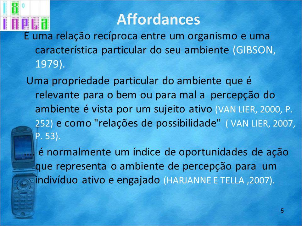 Affordances É uma relação recíproca entre um organismo e uma característica particular do seu ambiente (GIBSON, 1979). Uma propriedade particular do a
