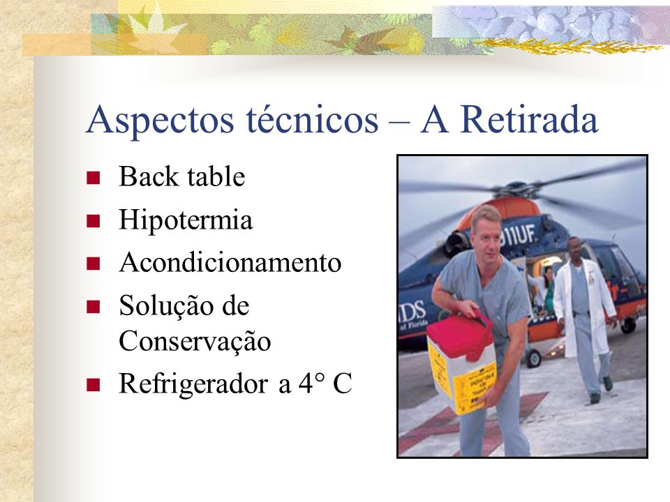 Aspectos técnicos – A Retirada Back table Hipotermia Acondicionamento Solução de Conservação Refrigerador a 4° C