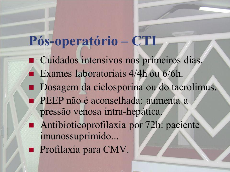 Pós-operatório – CTI Cuidados intensivos nos primeiros dias. Exames laboratoriais 4/4h ou 6/6h. Dosagem da ciclosporina ou do tacrolimus. PEEP não é a