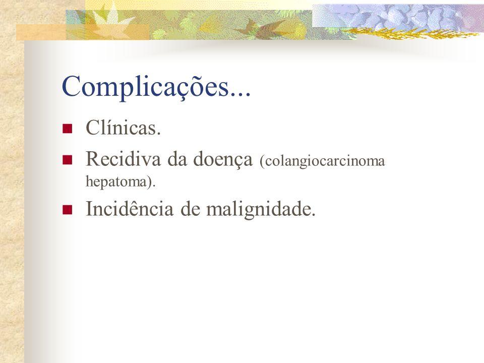 Complicações... Clínicas. Recidiva da doença (colangiocarcinoma hepatoma). Incidência de malignidade.