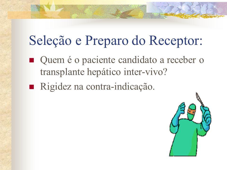 Seleção e Preparo do Receptor: Quem é o paciente candidato a receber o transplante hepático inter-vivo? Rigidez na contra-indicação.
