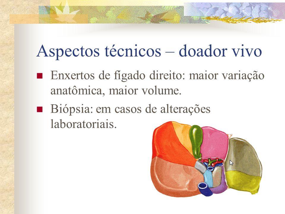 Aspectos técnicos – doador vivo Enxertos de fígado direito: maior variação anatômica, maior volume. Biópsia: em casos de alterações laboratoriais.