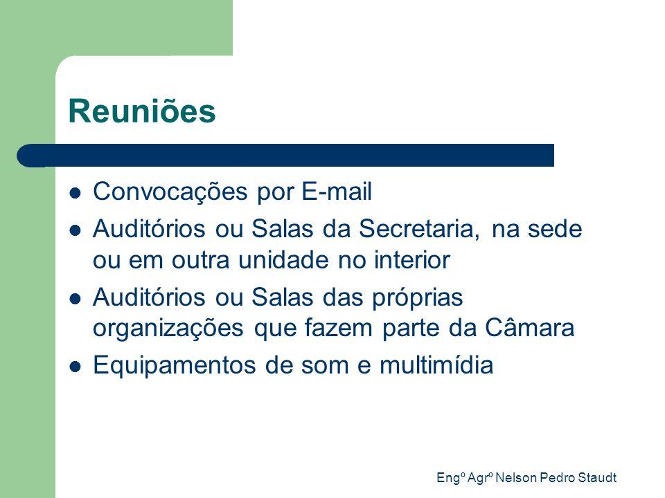 Engº Agrº Nelson Pedro Staudt Reuniões Convocações por E-mail Auditórios ou Salas da Secretaria, na sede ou em outra unidade no interior Auditórios ou