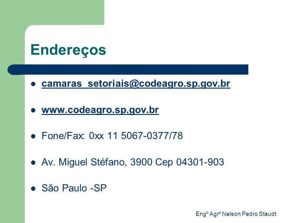 Engº Agrº Nelson Pedro Staudt Endereços camaras_setoriais@codeagro.sp.gov.br www.codeagro.sp.gov.br Fone/Fax: 0xx 11 5067-0377/78 Av. Miguel Stéfano,