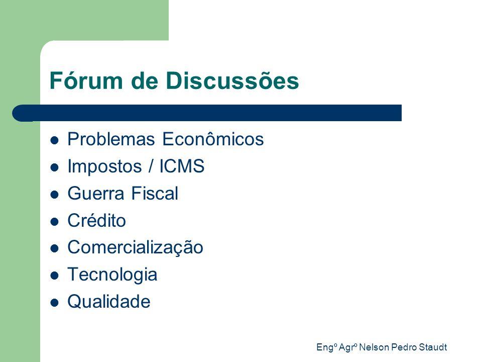 Engº Agrº Nelson Pedro Staudt Fórum de Discussões Problemas Econômicos Impostos / ICMS Guerra Fiscal Crédito Comercialização Tecnologia Qualidade