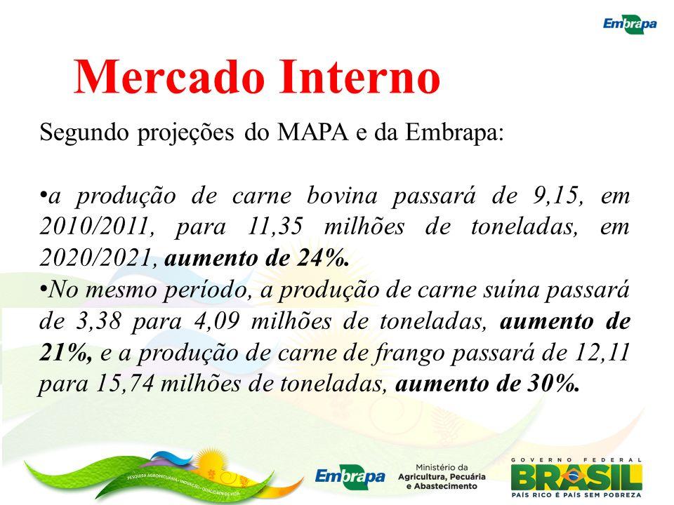 Mercado Interno Segundo projeções do MAPA e da Embrapa: a produção de carne bovina passará de 9,15, em 2010/2011, para 11,35 milhões de toneladas, em
