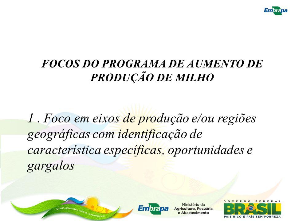 FOCOS DO PROGRAMA DE AUMENTO DE PRODUÇÃO DE MILHO 1. Foco em eixos de produção e/ou regiões geográficas com identificação de característica específica