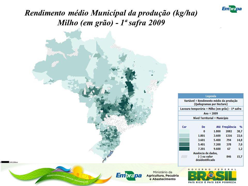Rendimento médio Municípal da produção (kg/ha) Milho (em grão) - 1ª safra 2009