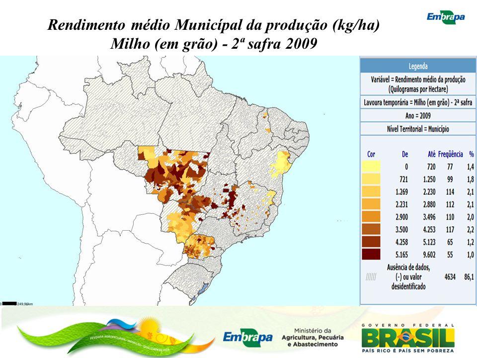 Rendimento médio Municípal da produção (kg/ha) Milho (em grão) - 2ª safra 2009