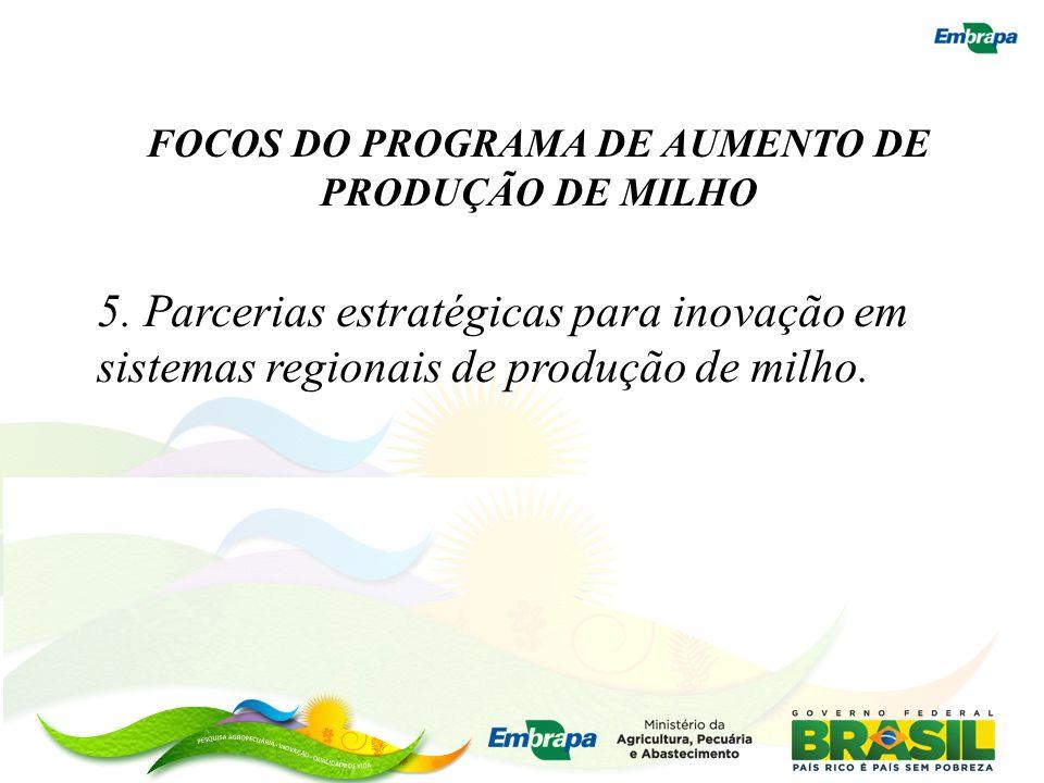 FOCOS DO PROGRAMA DE AUMENTO DE PRODUÇÃO DE MILHO 5. Parcerias estratégicas para inovação em sistemas regionais de produção de milho.