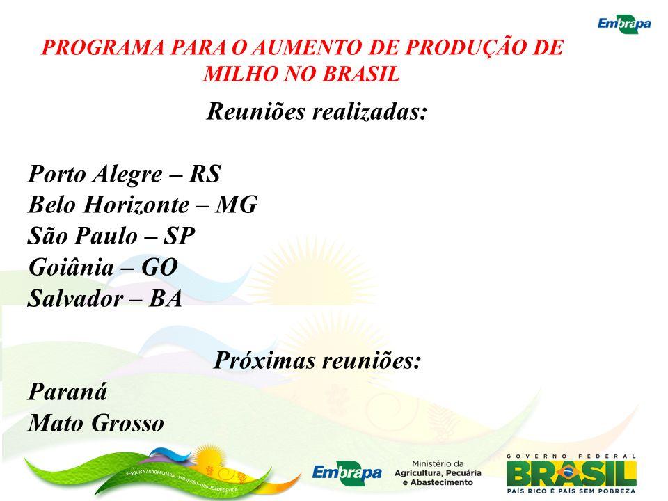 PROGRAMA PARA O AUMENTO DE PRODUÇÃO DE MILHO NO BRASIL Reuniões realizadas: Porto Alegre – RS Belo Horizonte – MG São Paulo – SP Goiânia – GO Salvador