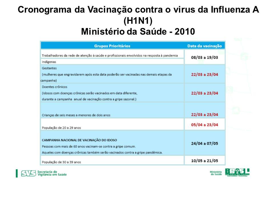 Cronograma da Vacinação contra o virus da Influenza A (H1N1) Ministério da Saúde - 2010