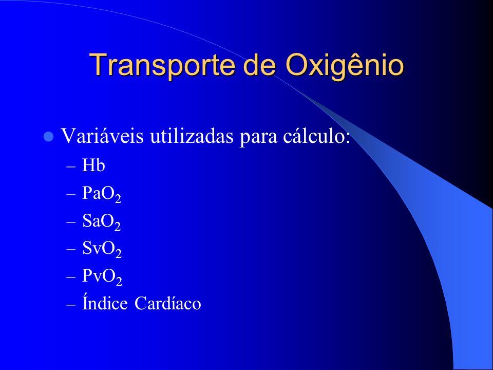 Transporte de Oxigênio Variáveis utilizadas para cálculo: – Hb – PaO 2 – SaO 2 – SvO 2 – PvO 2 – Índice Cardíaco
