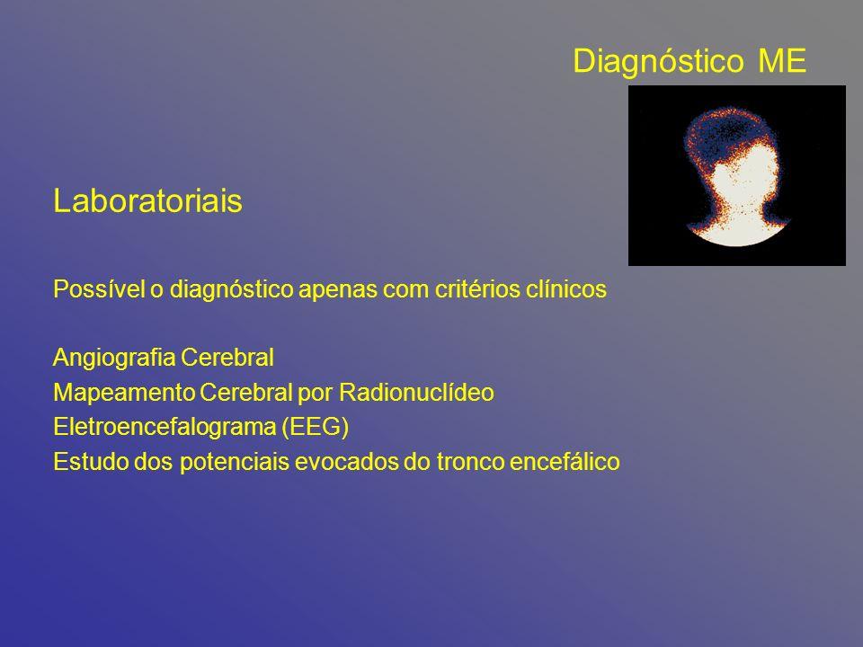 Diagnóstico ME Laboratoriais Possível o diagnóstico apenas com critérios clínicos Angiografia Cerebral Mapeamento Cerebral por Radionuclídeo Eletroencefalograma (EEG) Estudo dos potenciais evocados do tronco encefálico