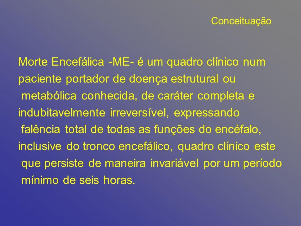 Conceituação Morte Encefálica -ME- é um quadro clínico num paciente portador de doença estrutural ou metabólica conhecida, de caráter completa e indub