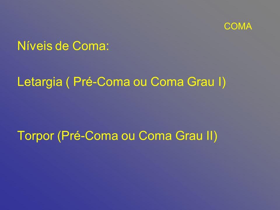 COMA Níveis de Coma: Letargia ( Pré-Coma ou Coma Grau I) Torpor (Pré-Coma ou Coma Grau II)