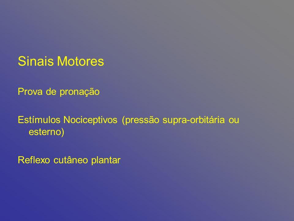Sinais Motores Prova de pronação Estímulos Nociceptivos (pressão supra-orbitária ou esterno) Reflexo cutâneo plantar