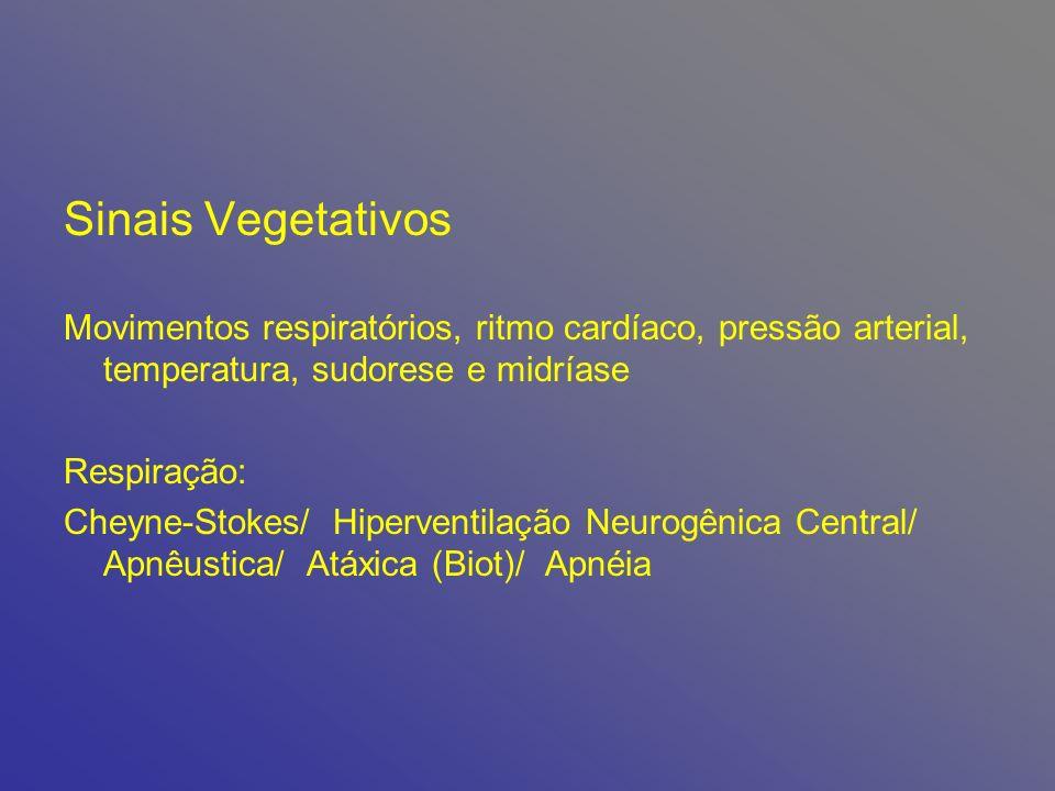 Sinais Vegetativos Movimentos respiratórios, ritmo cardíaco, pressão arterial, temperatura, sudorese e midríase Respiração: Cheyne-Stokes/ Hiperventilação Neurogênica Central/ Apnêustica/ Atáxica (Biot)/ Apnéia