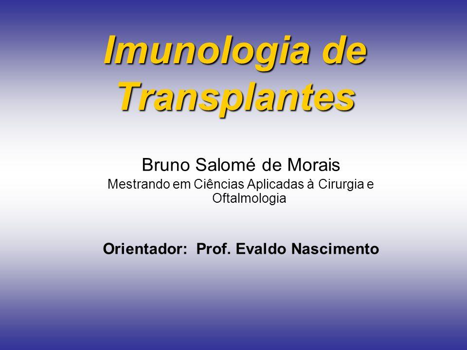 Imunologia de Transplantes Bruno Salomé de Morais Mestrando em Ciências Aplicadas à Cirurgia e Oftalmologia Orientador: Prof. Evaldo Nascimento