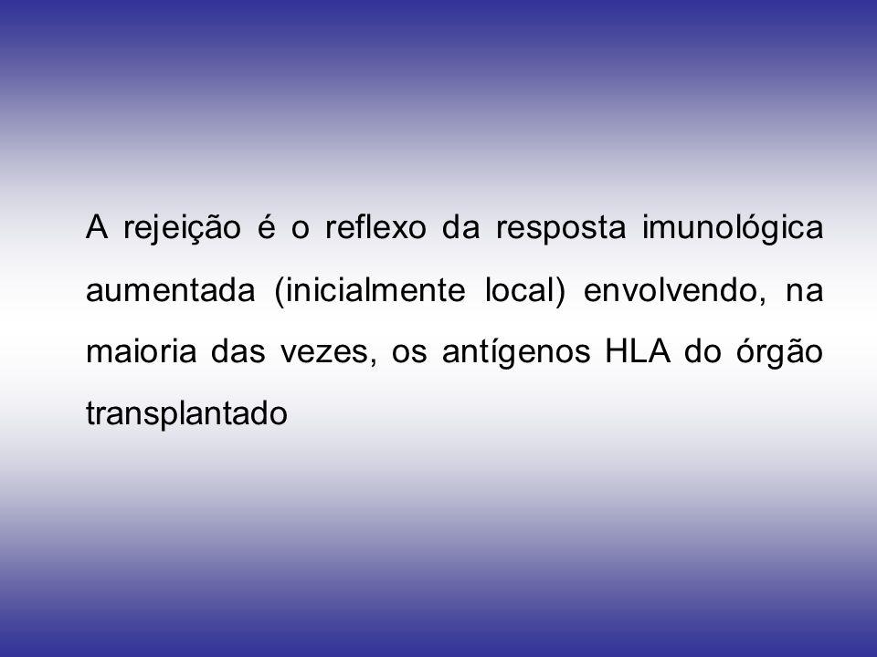 A rejeição é o reflexo da resposta imunológica aumentada (inicialmente local) envolvendo, na maioria das vezes, os antígenos HLA do órgão transplantad