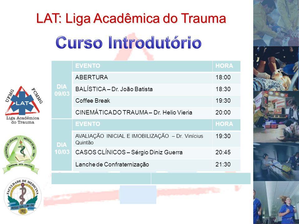 UFMG FCMMG LAT: Liga Acadêmica do Trauma DIA 09/03 EVENTOHORA ABERTURA18:00 BALÍSTICA – Dr. João Batista18:30 Coffee Break19:30 CINEMÁTICA DO TRAUMA –