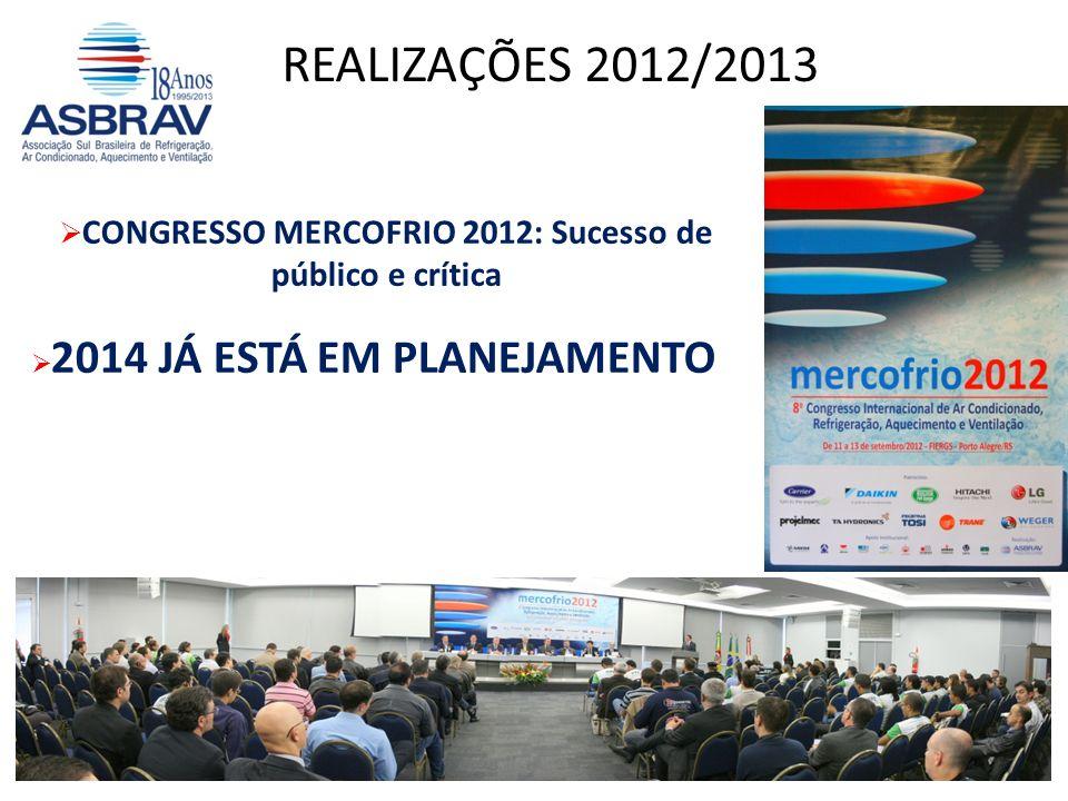 CONGRESSO MERCOFRIO 2012: Sucesso de público e crítica 2014 JÁ ESTÁ EM PLANEJAMENTO REALIZAÇÕES 2012/2013